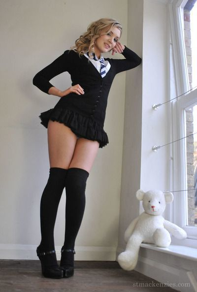 Sexy schoolgirl Amy Alexandra strips and flaunts in opaque socks