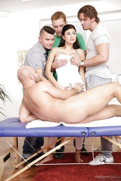 Big tit brunette Billie Star getting brutally fucked in a gangbang