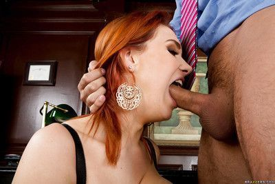 Redhead office lady Siri makes guys wild with her melons and skills