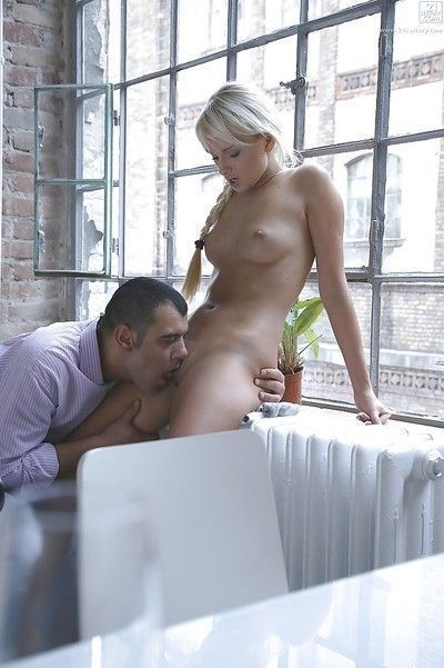 After licking her holes the horny stud gives babe Ivana Sugar a ride