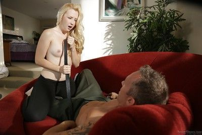 Teen blonde Samantha Rone is sucking this mature dick and fucking