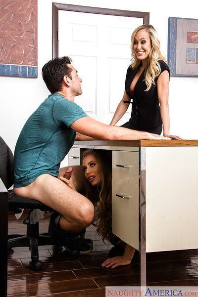MILFs Brandi Love and Nicole Aniston have threesome sex with schoolteacher