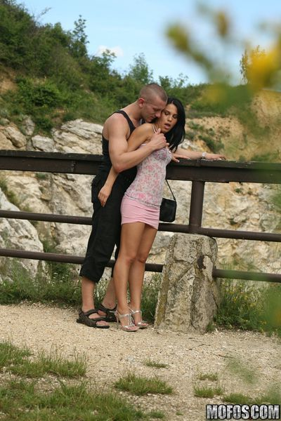 Gorgeous babe Amabella fucking big cock outdoor for a spy photoshoot