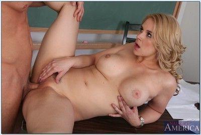 Busty blonde teacher Sarah Vandella sucks and fucks a student