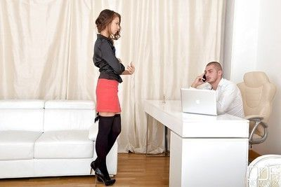 Sultry office secretary Helena Fox undressing for office co-worker