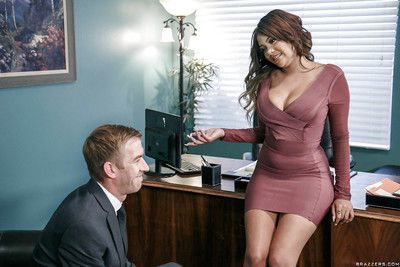Busty Latina Cassidy Banks giving and receiving oral sex in office