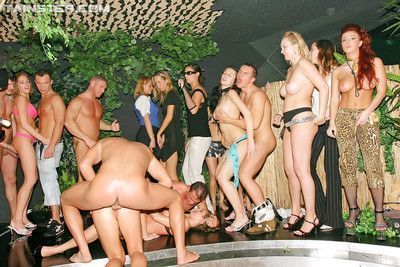 Lascivious MILF have some cock blowing and fucking fun at the wild party