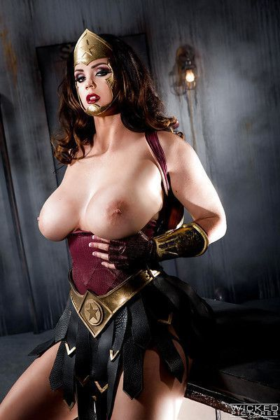 Busty cosplay model Alison Tyler flaunting her large natural hooters