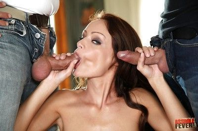 Sophie Lynx gets double facial after hardcore groupsex with two guys