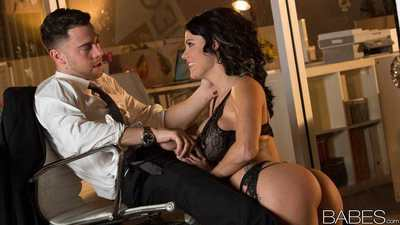 Big tits brunette Peta Jensen trades hot office handjob for a hardcore fuck