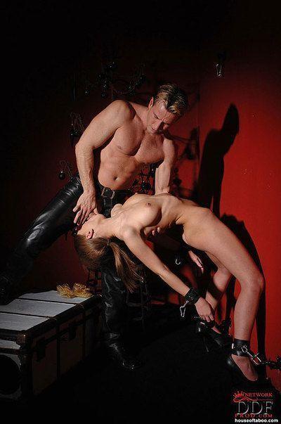 Busty fetish model Alice Miller forced to give bj in hardcore BDSM scene